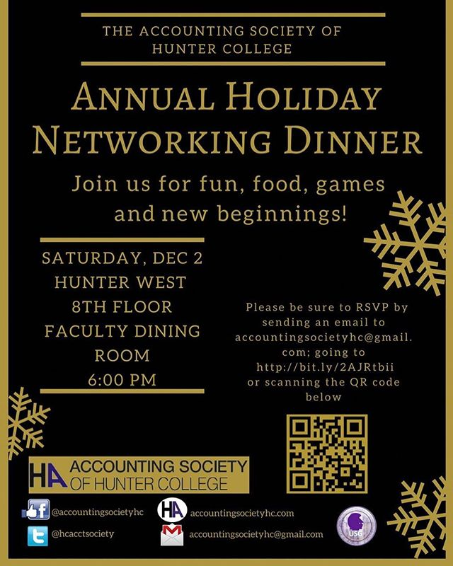 Make sure to RSVP for our annual holiday networking dinner. Don't miss the chance to enjoy a night of delicious food and fun games! #holidayseason #accountingsociety #hunter