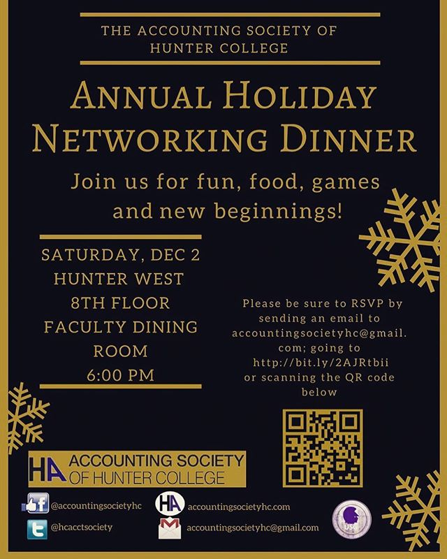 Join us for our annual holiday networking dinner! Enjoy a night of food and games. You deserve some fun right before finals. #accountingsociety #holiday #games #hawks #finals #hunter