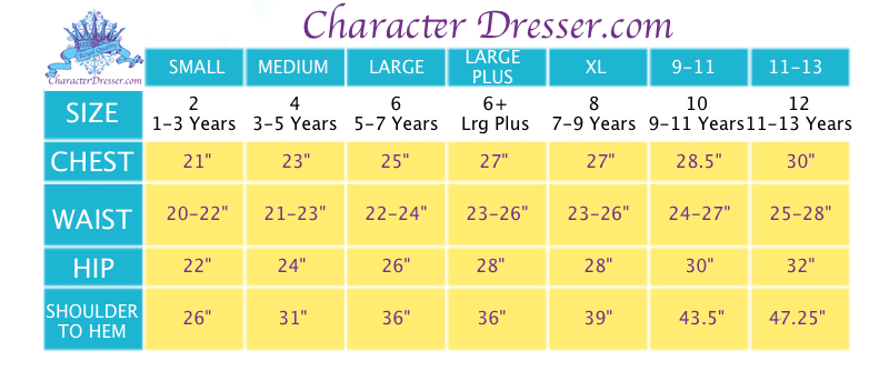 Disney World Princess Makeover Dresses Sizing Chart