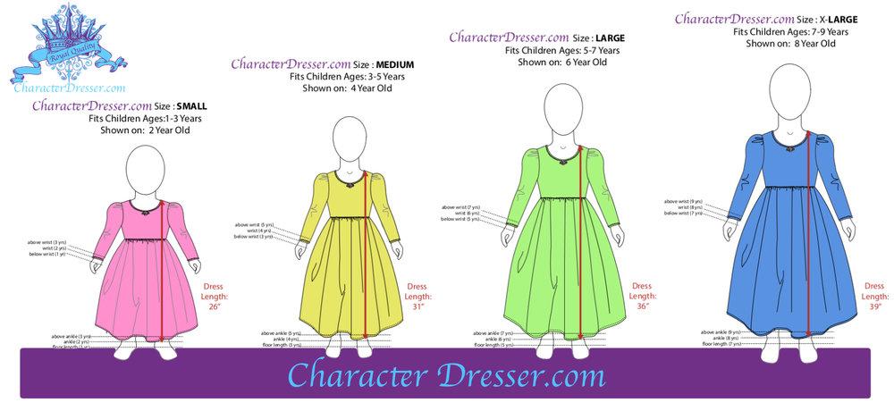 Character Dresser Princess Dresses Sizing Chart