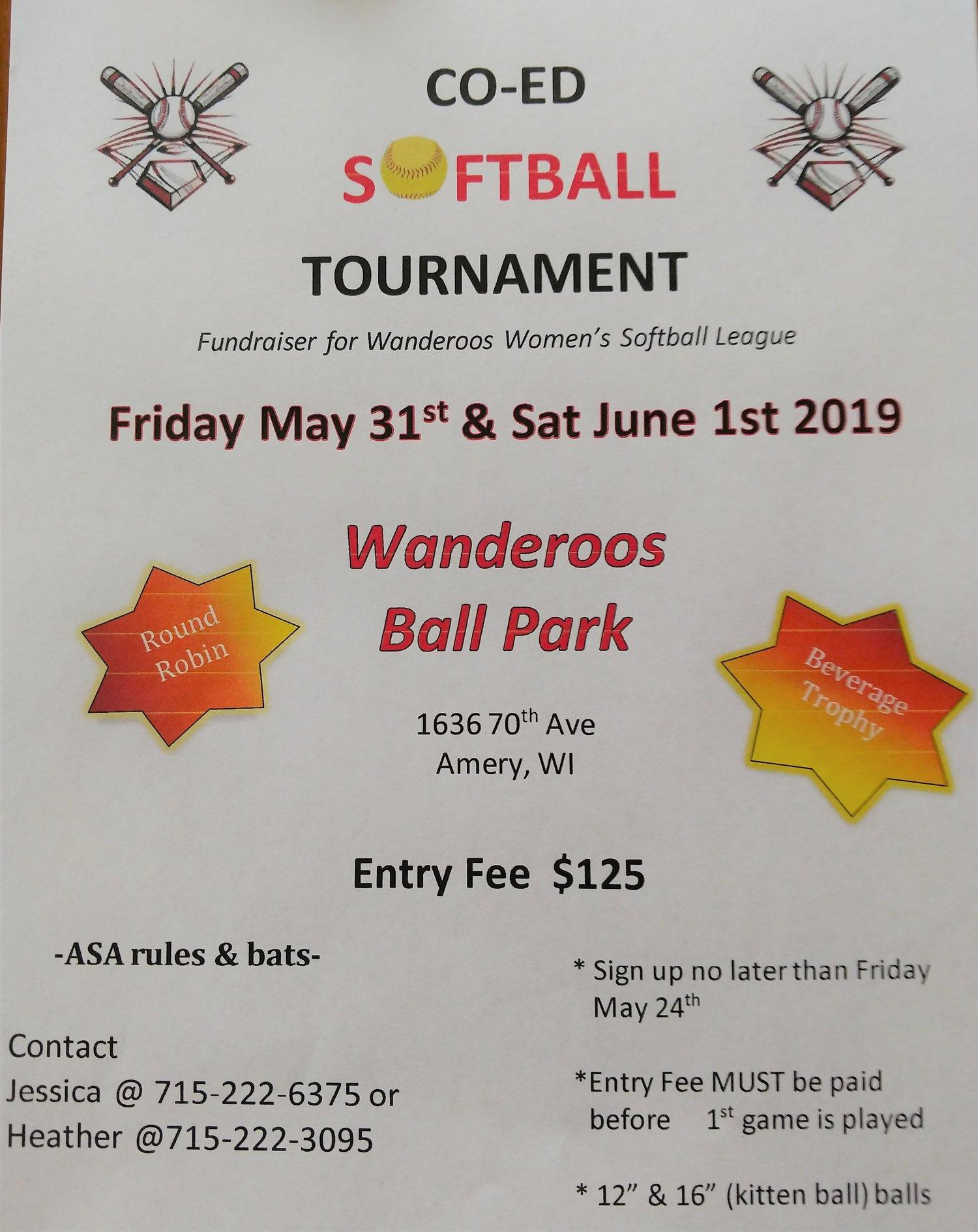 Co-Ed Softball Tournament — Wanderoos, Wisconsin