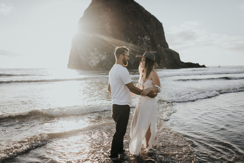 Cannon Beach Haystack Rock Engagement Rustic Moon Photo-153.jpg