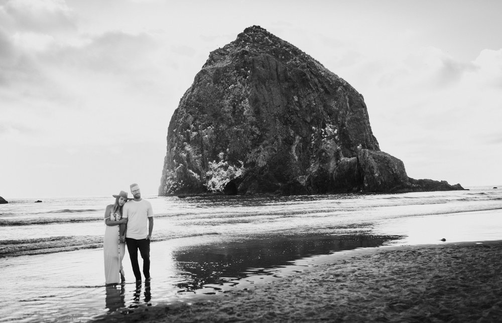 Cannon Beach Haystack Rock Engagement Rustic Moon Photo-204.jpg