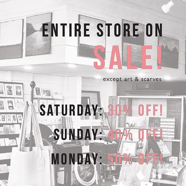 S T A R T S T O M O R R O W - it's time to make room for spring at Water on Water 🌷 Our Winter Clear-Out Sale starts TOMORROW!! This weekend only!  Saturday 3/10-Monday 3/12 See you there!  #wateronwaterstreet #excelsiorminnesota #mpls #minnetonka #boutique #fashion #jewelry #gifts #minnesota #localartist