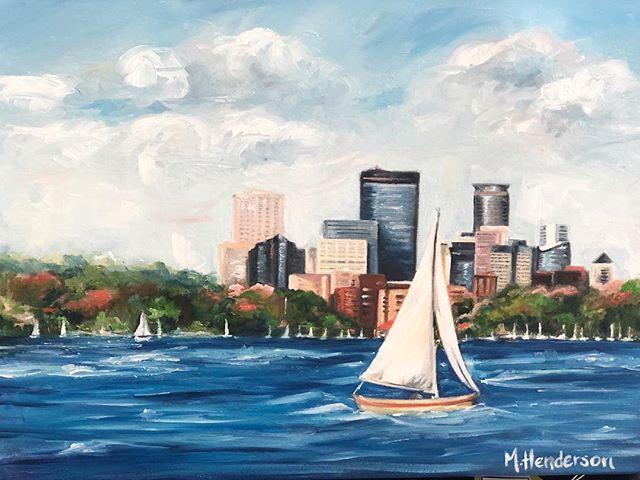 Lake Calhoun on a sunny summer day.  This gorgeous oil painting just arrived today.  #lakecalhoun #minnesotasummer #sailingaway #mpls #skyine #oiloncanvas
