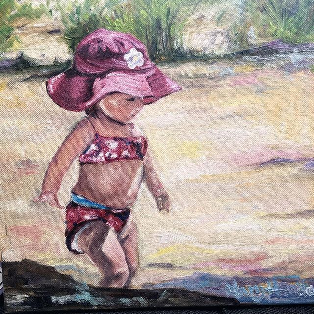 """How sweet is this little beach baby?!12""""x12"""" - delivered to the shop yesterday by local artist Mary Henderson. ❤️ #minnetonka #oilincanvas #beachbaby #lakelife #minnesotasummer #shopwaterstreet #excelsiorminnesota #localart"""