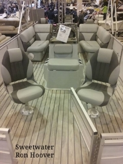 Center Console Pontoon Boat set up for fishing and fun. Loved the flooring in this one and  the functional use of space!  www.ronhoover.com