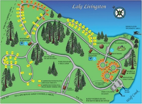 Map of campgrounds.
