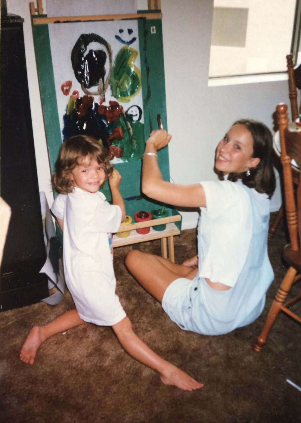 Painting with Sister Jaymie, Age 3