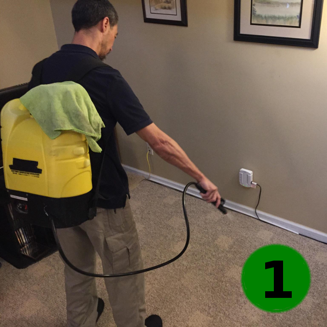 Spraying the Citrus product from a backpack sprayer means no truck-mounted systems, no hoses running through the house.
