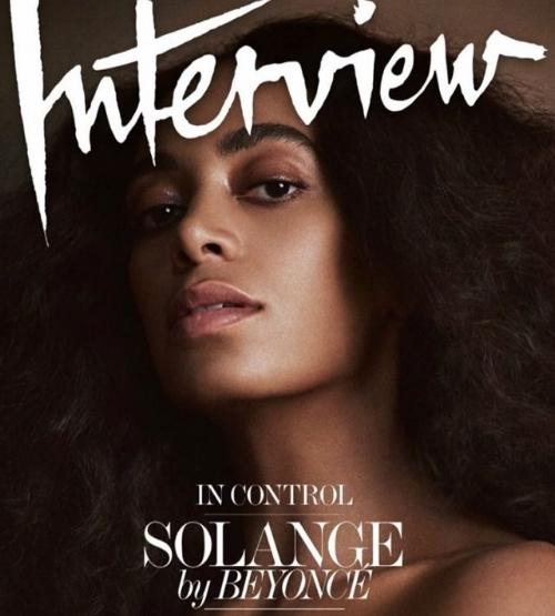 Solange was interviewed by big sis, Beyoncé for Interview magazine. Photo via interviewmagazine.com