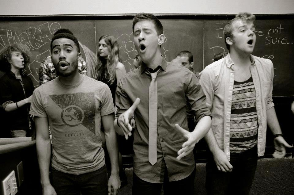 Max singing with the NYU N'Harmonics, (Dimitri Moise, Max, Andrew Martin, Left to Right)