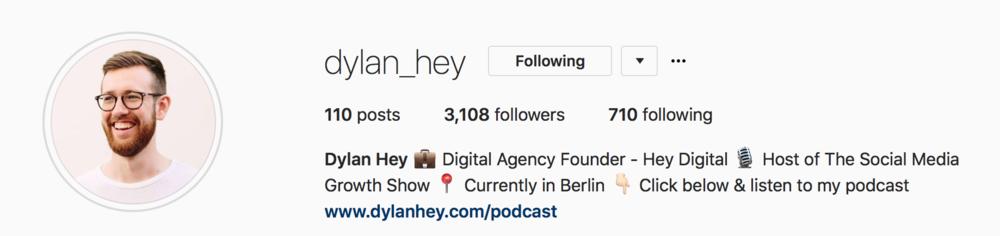 Dylan Hey's Instagram bio