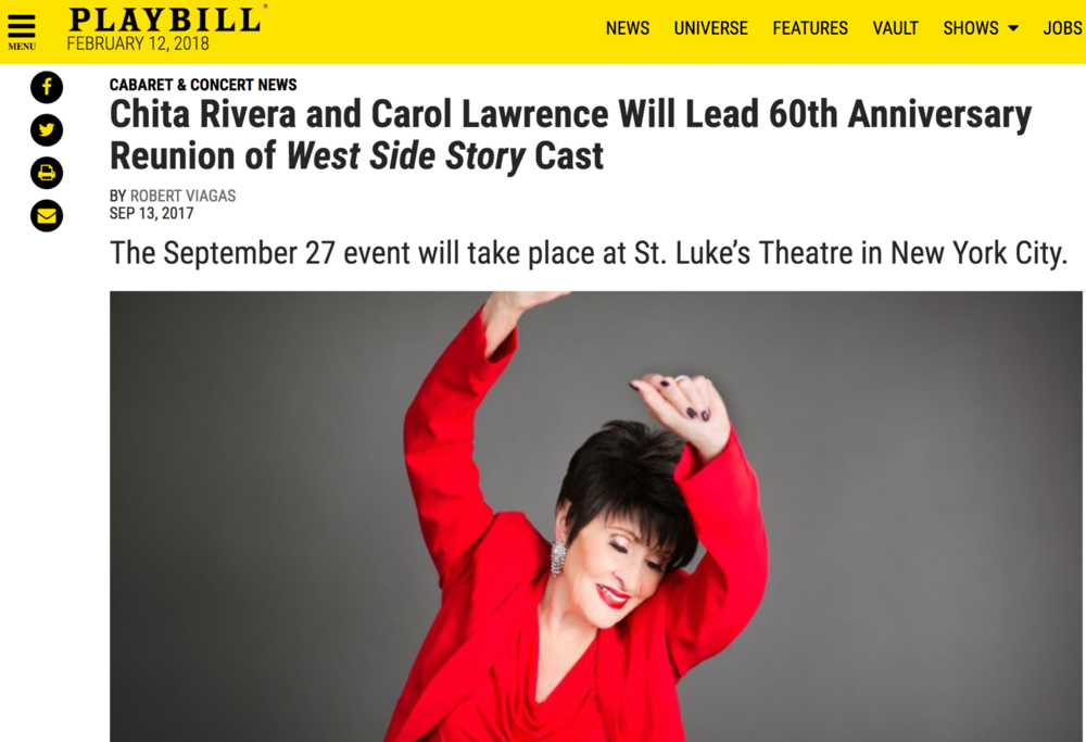 september 27th, 2017 | West Side Story Broadway Cast Reunion & Concert - Sojourner is thrilled that she got the opportunity to sing at the 60th Reunion of the Broadway Cast of West Side Story. The event featured a talk-back panel with the original cast and culminated in the performance at St. Luke's Theatre.READ MORE: Playbill write-up