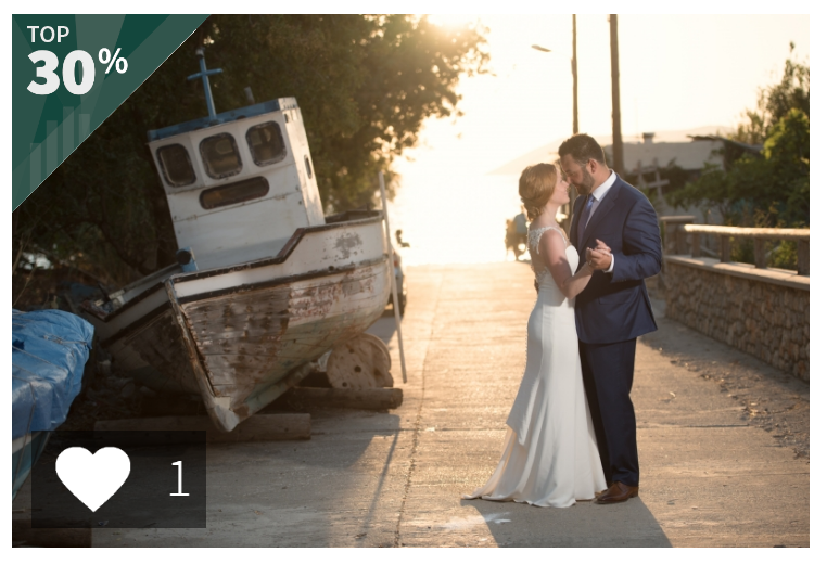 Not one, but TWO photos from Hollin and Russell's destination Greek wedding scored in the top 30% or above!