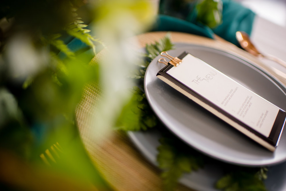 These place settings were modern, beautiful, and a little glam.