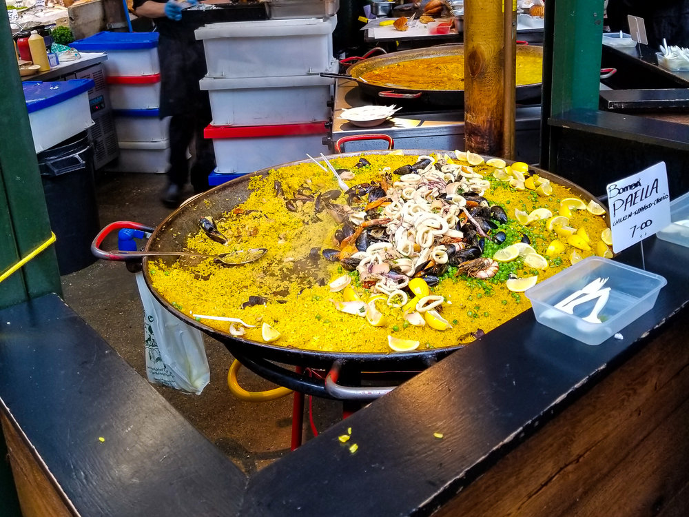 Just a little bit of seafood paella at the Borough Market.