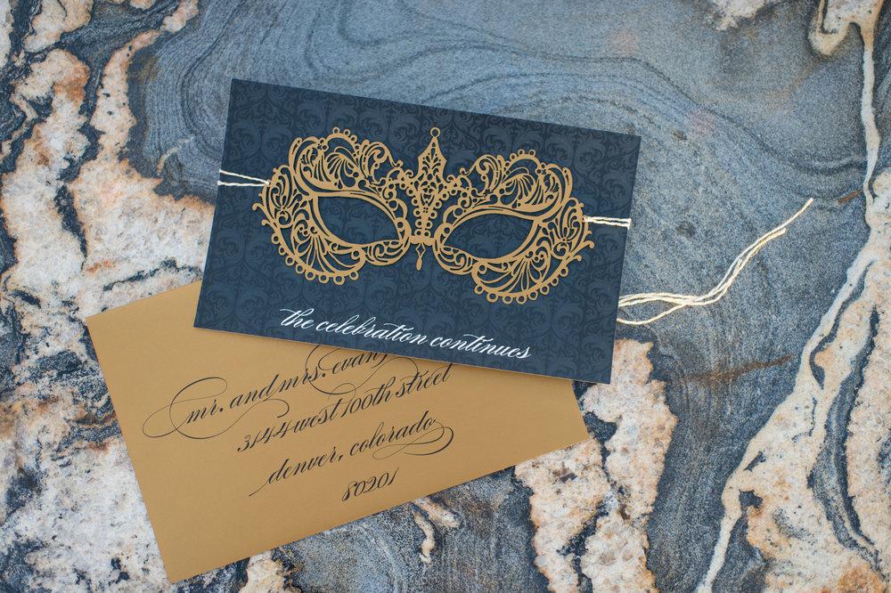 laser cut masquerade wedding invitations
