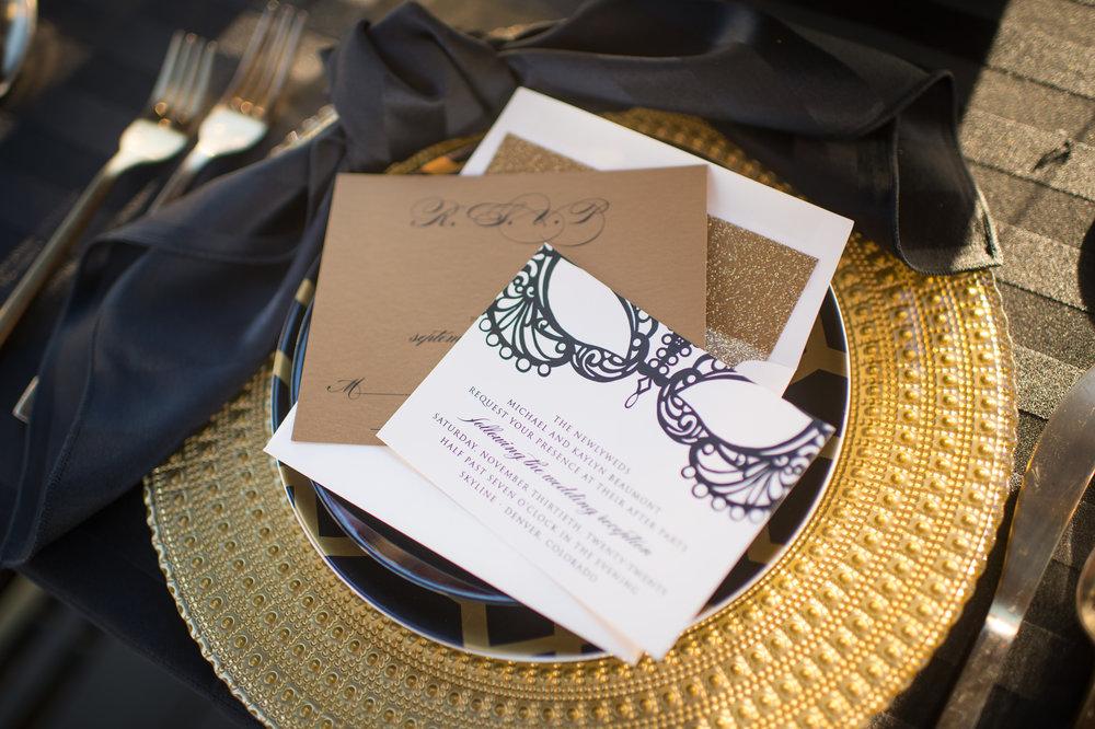 custom RSVP cards denver colorado black tie