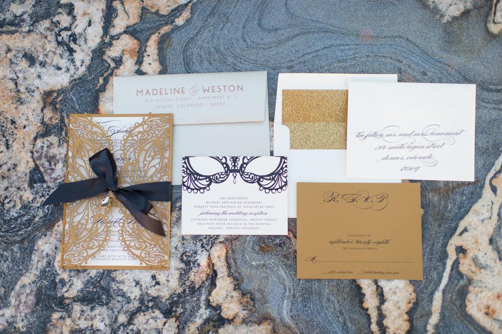 black tie custom invitation suite denver colorado