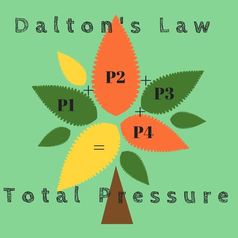 Dalton's Law - The total pressure of a mixture is equal to the sum of the partial pressures of each gas in the mixture.P = P1 + P2 + P3…
