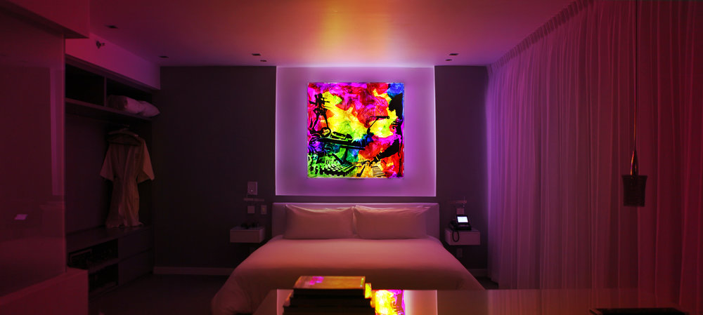 "Afrobeta 48""x48"" : Commission for The Marlin Hotel : LED lightbox w/ transparent films"
