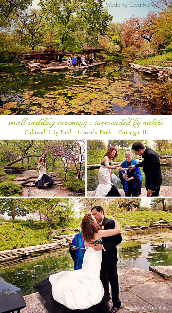 Small wedding ceremony at Caldwell Lily Pool — Small Weddings Chicago