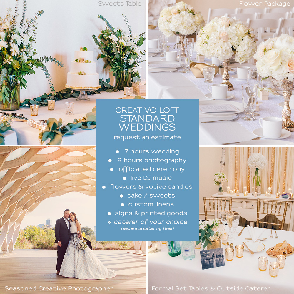 Chicago small wedding packages small weddings chicago standard full day small wedding venue rental starts at 5000 5500 depending on group size please request an estimate for custom all inclusive service junglespirit Gallery