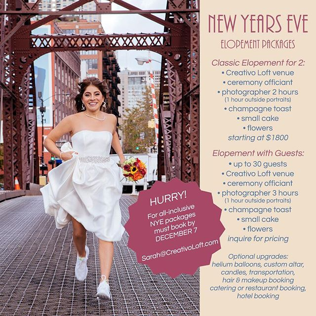 This year is almost over! Did you find your soulmate in 2018? Ready to get married? Why wait? Celebrate your great year with a New Years Eve elopement wedding in Chicago. Packages available for 2 to 30 people. Time is running out, please book by December 7. #elopement #elopementwedding #chicagoelopement #elopementlove #elopementpackages #elopementphotographer #elopement #elope #engaged #chicagowedding #nyewedding #microwedding #microweddings #chicagogram 📸 @weddingcreativo 🎉 @creativoloft