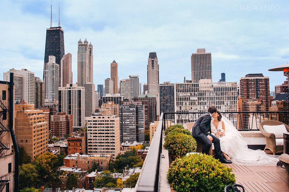 23. Rooftop or high-rise terrace elopement with Chicago's beautiful skyline as your backdrop