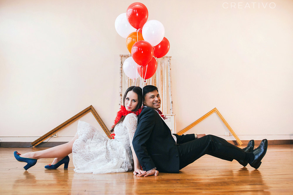 7. Chicago loft elopement with balloons, at  Creativo Loft