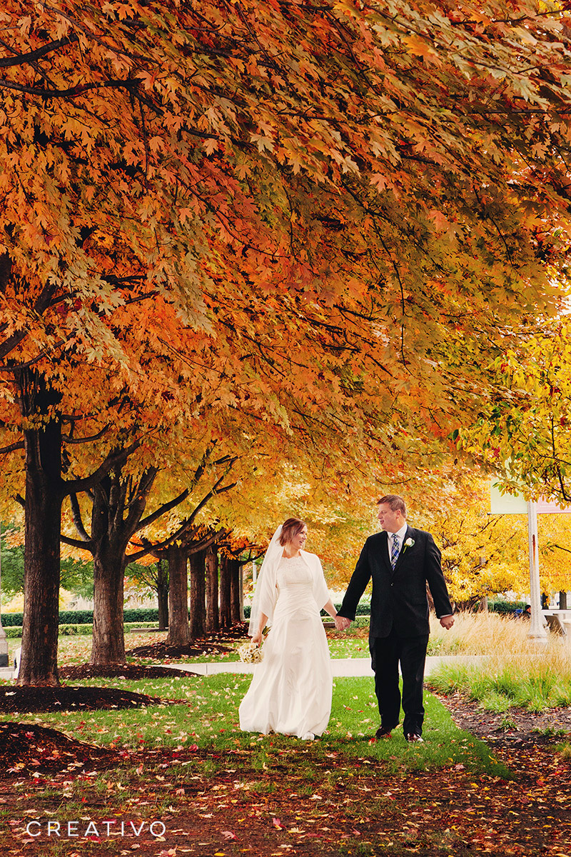 27. Autumn elopement in Chicago in a park with a canopy of stunning colored leaves