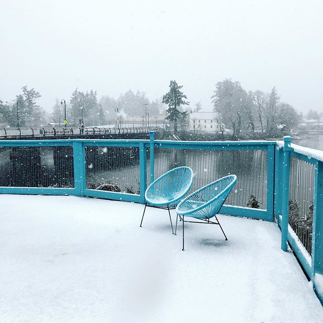Today's pretty snowfall from the pool deck point of view 🌨 . . . . #snowfall #snow #winter #Canadianwinter #yyj #pooldeck #blue #waterfront #gorgewaterway #itssnowing #dailyview #yyjhousing #livelightly #findyourplace #rentalhousing #welcomehome #apartmentlife #apartmentliving