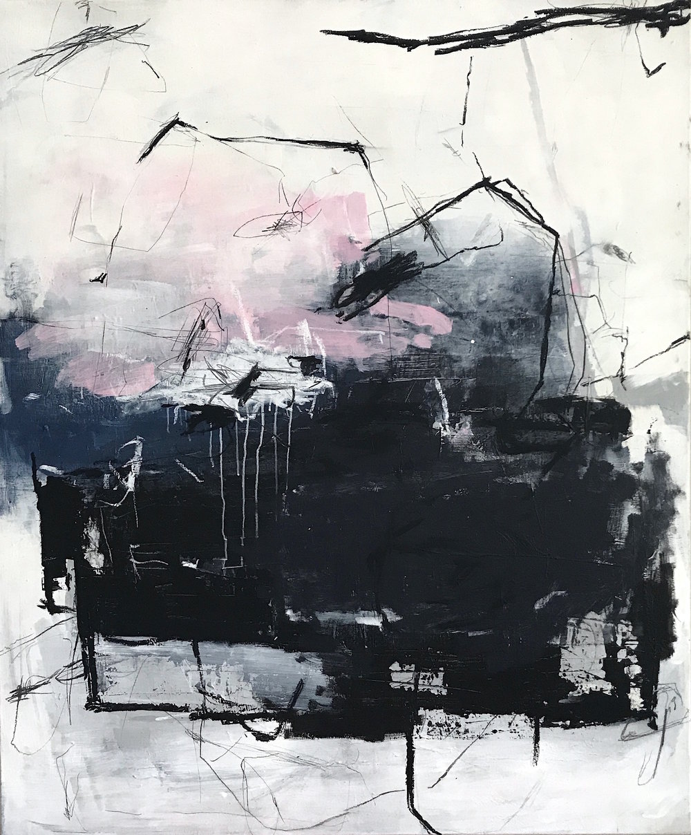 Painting No 3602, acrylic, charcoal, pastels on stretched canvas, 120x100cm, 2018
