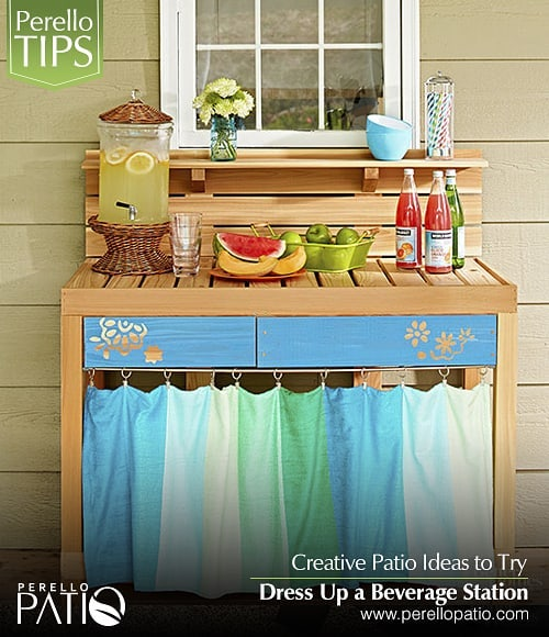 Creative DIY Patio Ideas to Try.  Dress Up a Beverage Station.  Practicality is key to increasing the use of any patio space. Storage and organization locations, such as this DIY patio beverage station, offer spots for gathering. Customized from an off-the-shelf workbench, special touches to this project include paint on the drawer fronts and an easy-sew curtain to hide supplies.  Call us for more information about our products and services (+1)305 927 6979  info@perellopatio.com  Office and Showroom: 5161 NW 79 AVE, UNIT 5, DORAL, 33166  #pergolas #decks #outdoordesign #outdoorkitchen #outdoor #patio #syntheticggrass  #outdoorkitchen #design #gardendesign #fences #poolfences #pool #decoration #patiodesign #exteriordesign #gardens #turf #patioidea #miami #florida #usa #developers #realtor #architect #instadesign #instagood #instalike #photooftheday