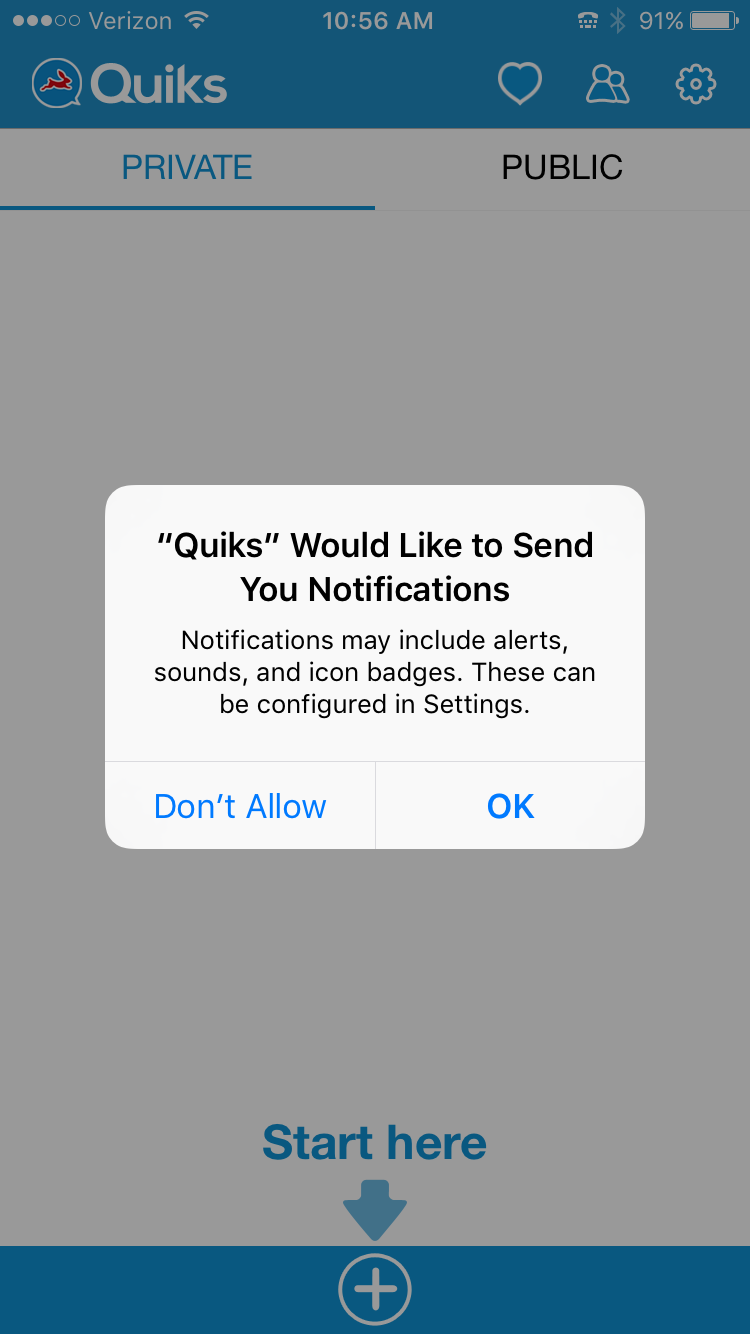 Step 9: Tap 'OK' to receive notifications