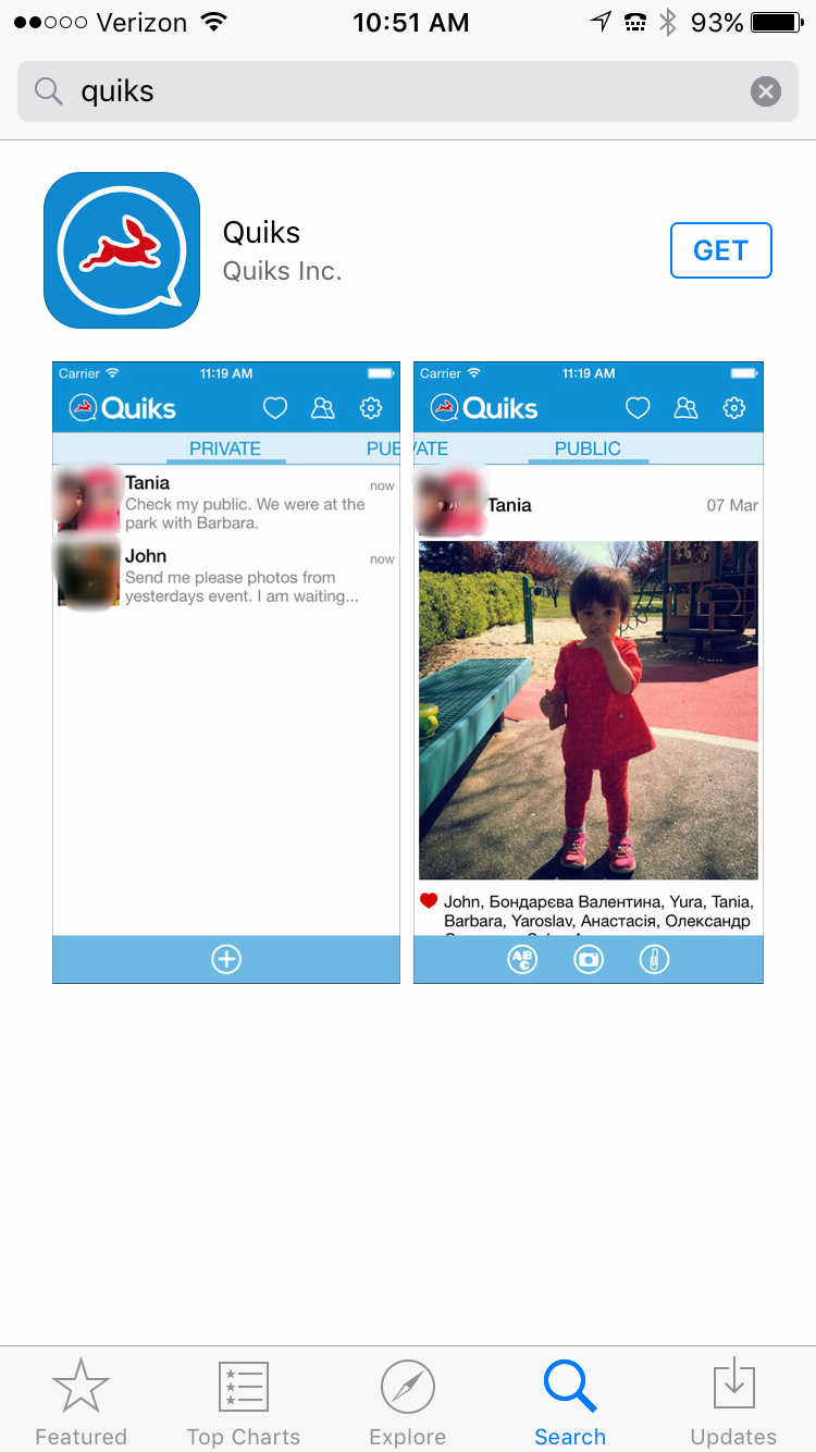 Step 1: Type in 'Quiks' in App Store and click 'GET'