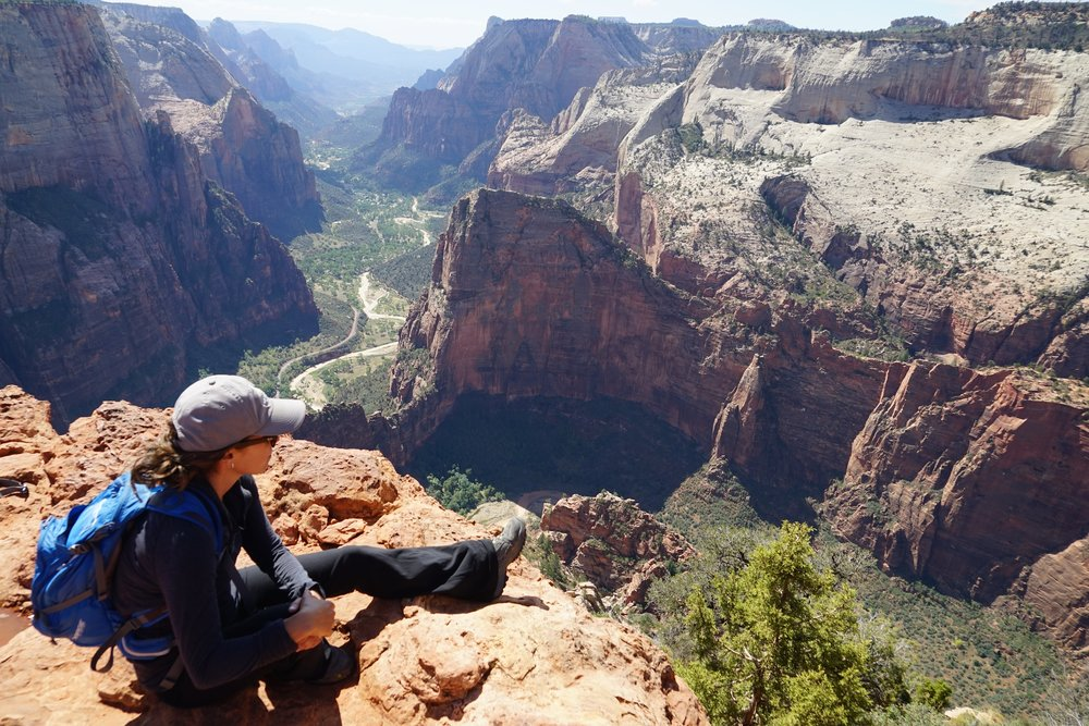 Top of Observation Point (you can see Angels Landing point straght our to the right)
