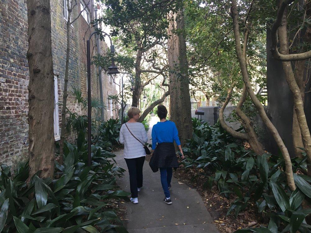 Walking through a secret city garden