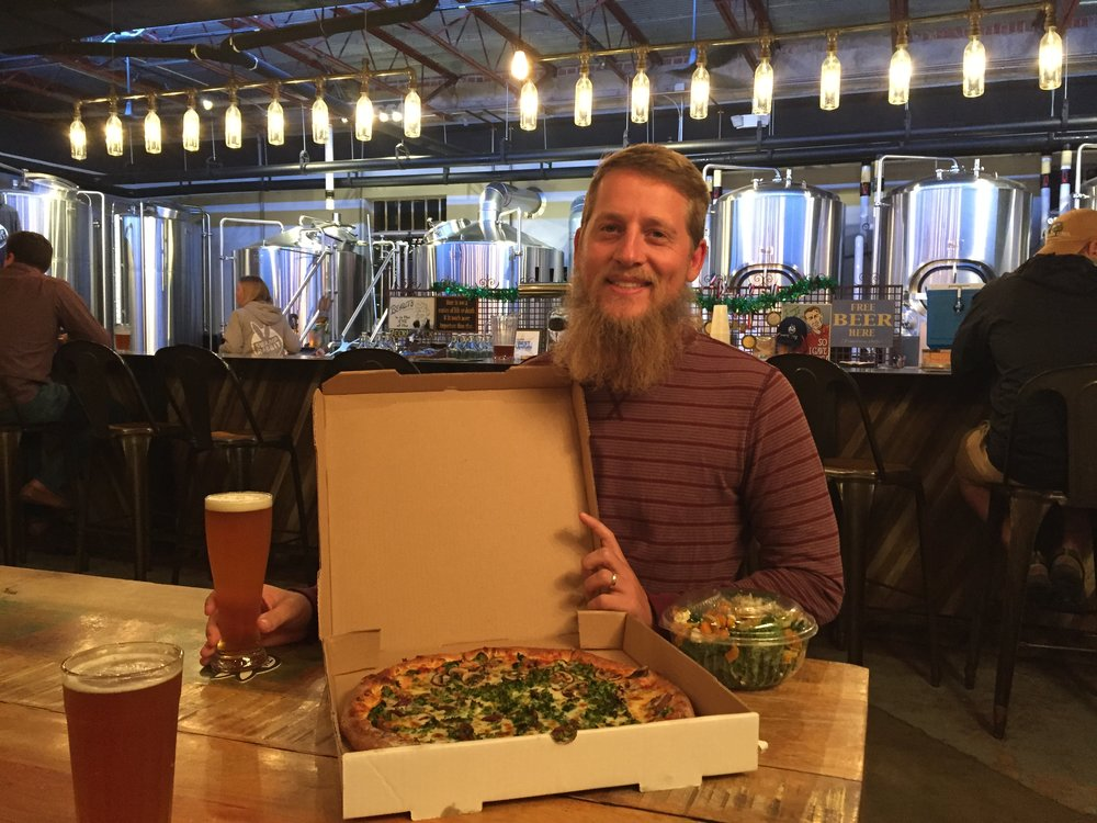 More b-day celebrations with dinner from  Sidewall Pizza  and beers at  Swamp Rabbit BrewCo  in the small awesome town of Travelers Rest