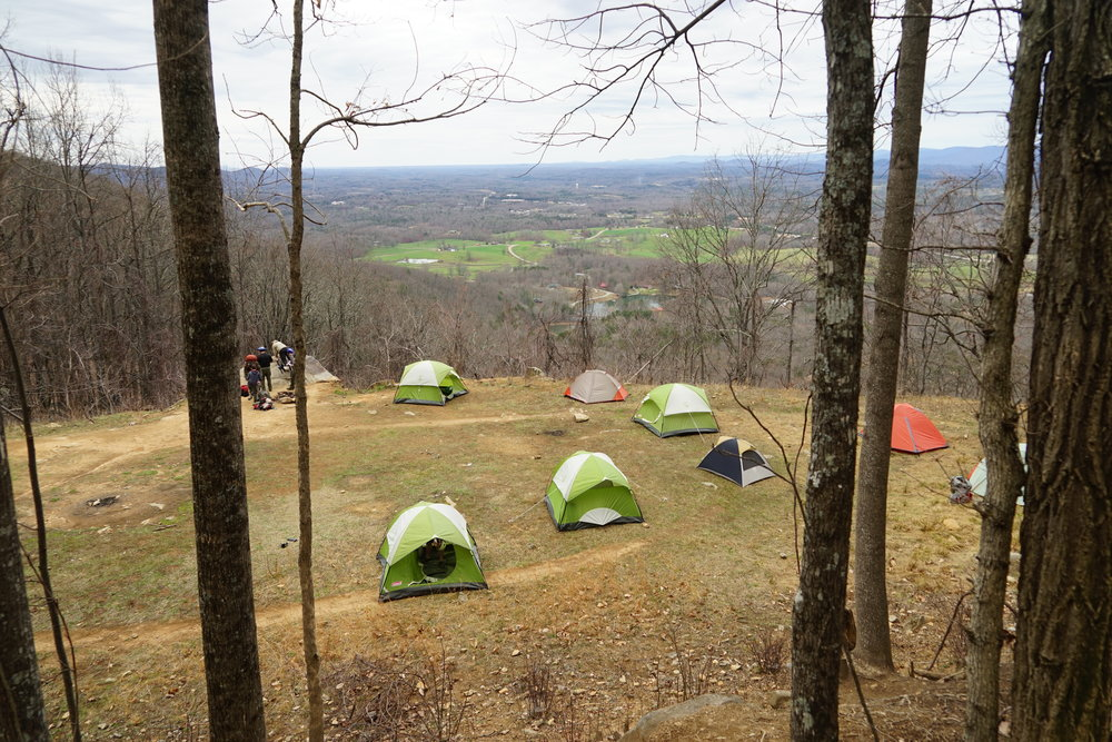 Tent campers on our hike to Yonah Mountain