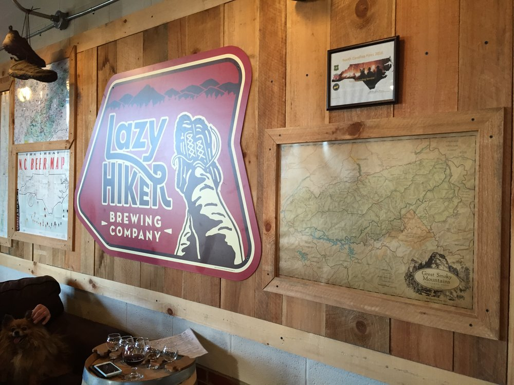 Beer thirty (and warmth) at Lazy Hiker Brewery in Franklin, NC (close to Dry Falls)