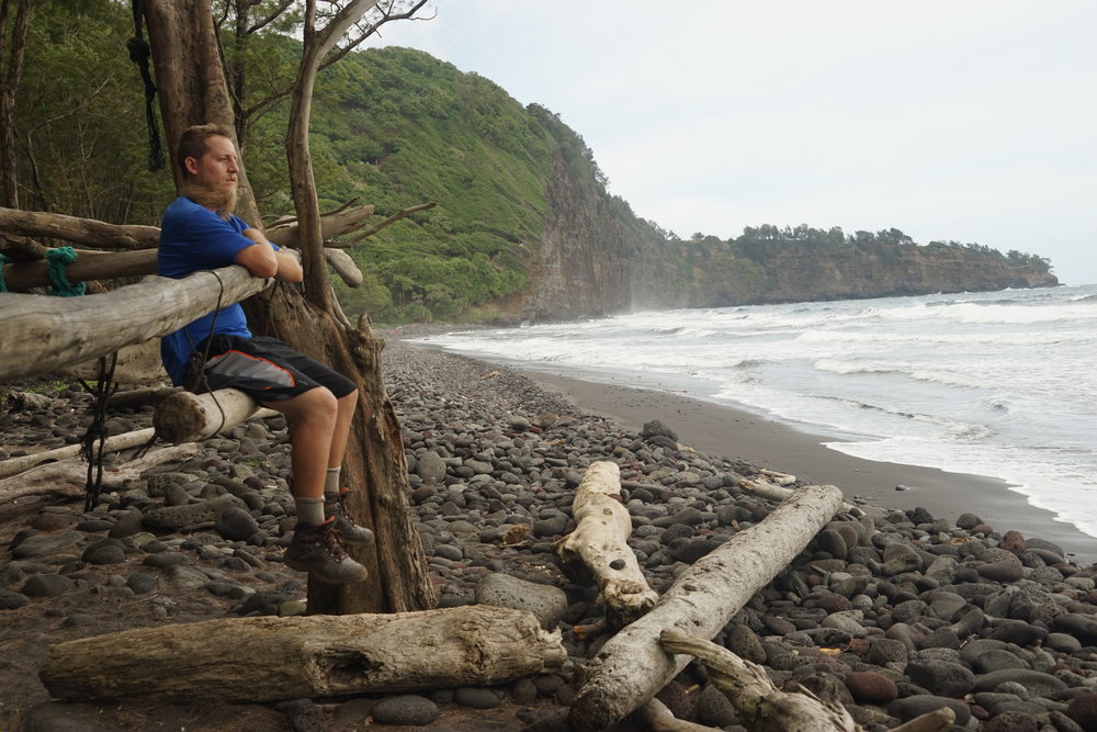 Beach break down in Pololu Valley