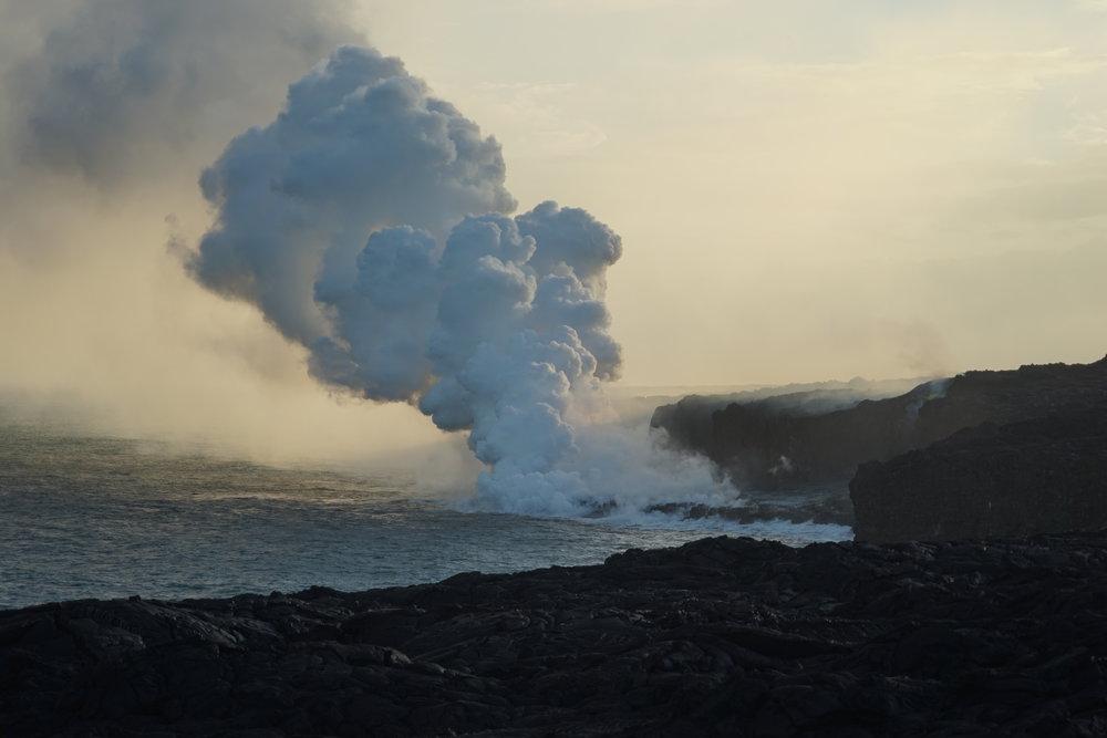 Kamukona ocean entry at dusk