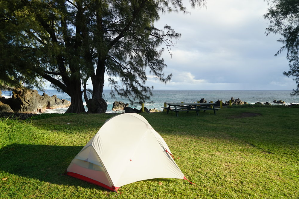 Camping at Laupãhoehoe Beach Park