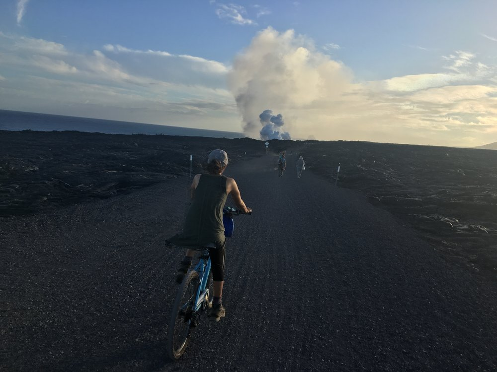 Biking to  Kamukona ocean entry.