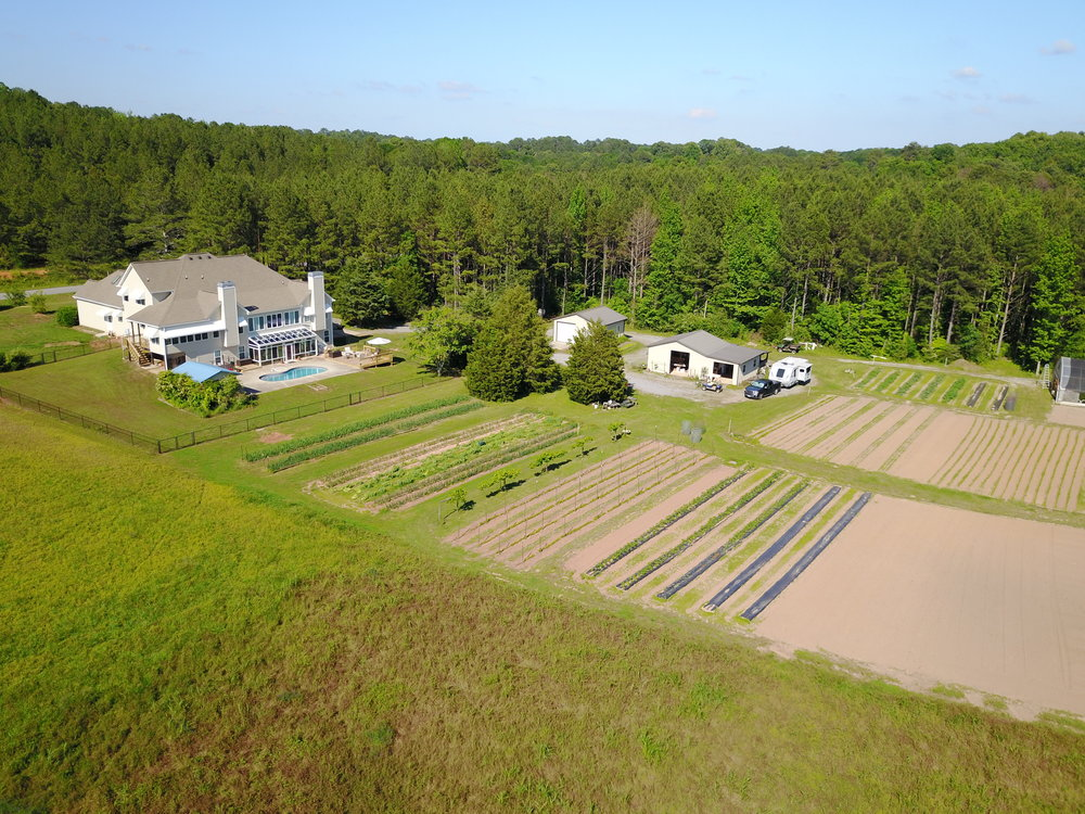 Overhead view of farmhouse + pool, barns (beside the Lance) and veggie rows