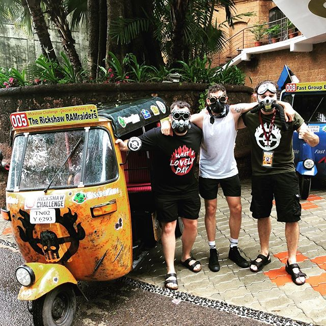 RICKSHAW RALLY: Just going through India during monsoon on a rickshaw with these guys mad max theme, brb!🌧