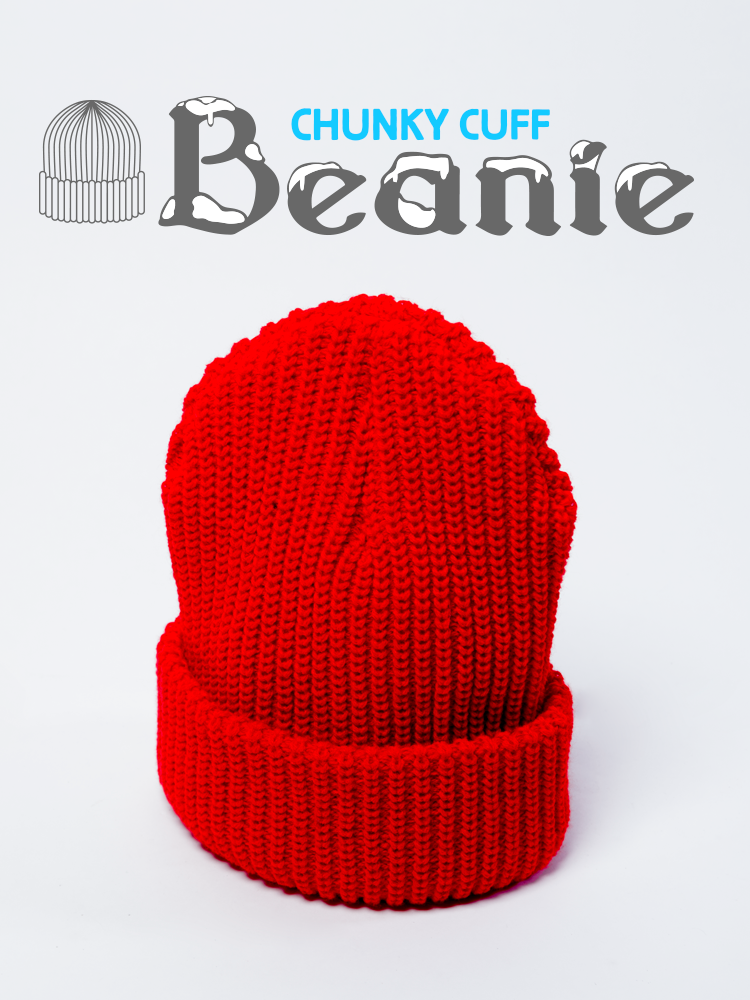 Thick Chunky Cuff Knit Beanie Acrylic Wool