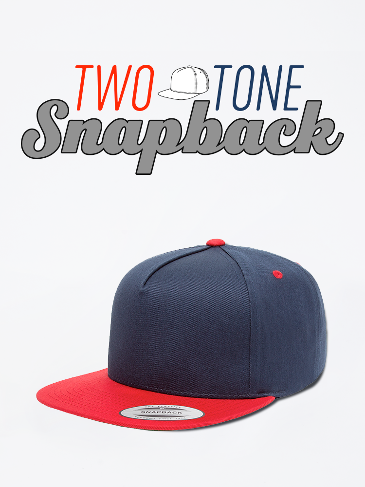 Two Tone Snapback Cap Hat Red Blue